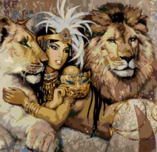 KAZ002 Раскраска по номерам «Клеопатра с львами»