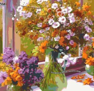 KAZ004 Раскраска по номерам «Букет весенний»