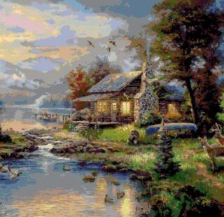 KAZ005 Раскраска по номерам «Волшебный пейзаж»