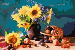KAZ006 Раскраска по номерам «Натюрморт с подсолнухами»