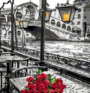 KAZ007 Раскраска по номерам «Розы на столе»