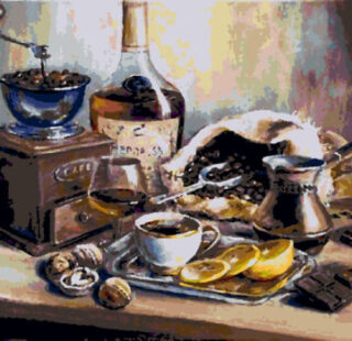 KAZ011 Раскраска по номерам «Натюрморт кофе»