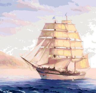 KAZ012 Раскраска по номерам «Белый Парусник»