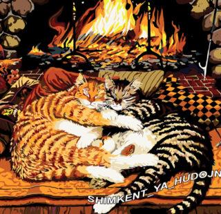 KAZ014 Раскраска по номерам «Коты у камина»