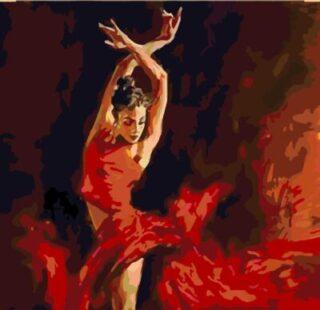 KAZ015 Раскраска по номерам «Балерина в красном»