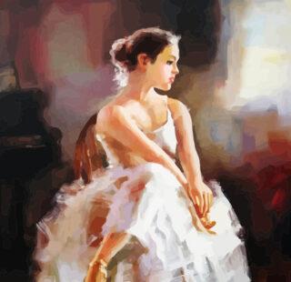 KAZ020 Раскраска по номерам «Балерина на стуле»