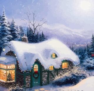 KAZ076 Раскраска по номерам «Зимняя избушка»