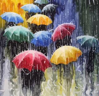 KAZ086 Раскраска по номерам «Зонтики»