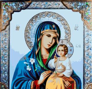 KAZ091 Раскраска по номерам икона «Дева Мария с младенцем»