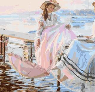 KAZ058 Раскраска по номерам «Девушки на пирсе»