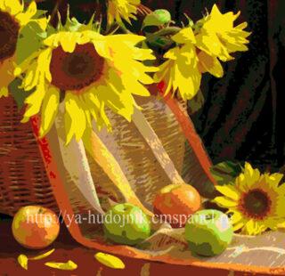 KAZ062 Раскраска по номерам «Подсолнухи с фруктами»