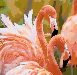 KAZ065 Раскраска по номерам «Фламинго»