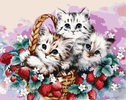 """KAZ187 Раскраска по номерам """"Котята в корзинке"""" — Картины ..."""