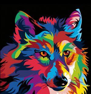"""KAZ228 Раскраска по номерам """"Радужный волк"""""""