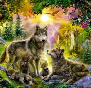 MKAZ412 Набор алмазный. «Семья волков на закате»
