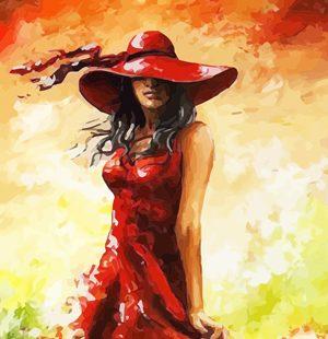 KAZ347 Раскраска по номерам «Девушка в красной шляпе1»