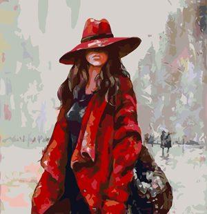 KAZ348 Раскраска по номерам «Девушка в красной шляпе2»