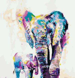 KAZ423 Раскраска по номерам «Слониха со слоненком»