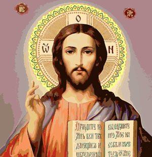 KAZ624 Раскраска по номерам Икона «Христос Спаситель»
