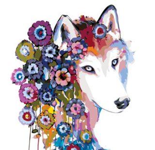 KAZ680 Раскраска по номерам «Радужная волчица»